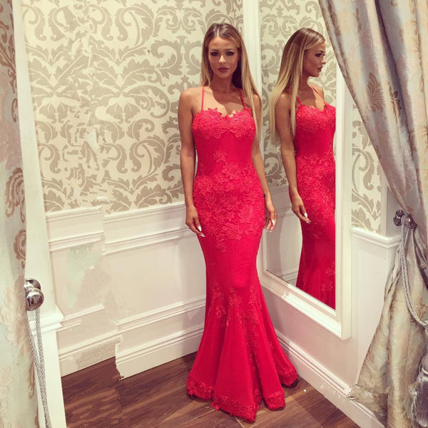 long mermaid red lace evening dress, HO228