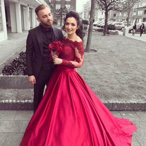 burgundy off shoulder prom dress long sleeves ball gown, HO227