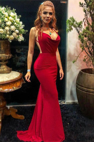 sexy red backless long mermaid evening dress, HO229
