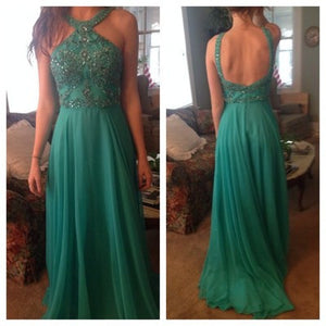 green Prom Dress,long Prom Dress,charming Prom dress,backless prom Dress,BD606