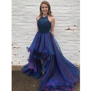 Halter Beaded Top High Low Popular Charming Long Prom Dresses,BD1563