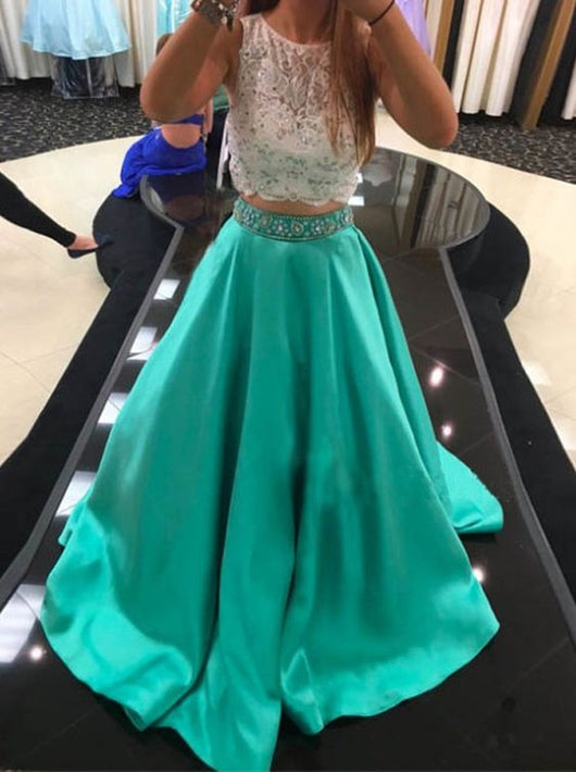 two pieces prom dress,long A-line prom dress,blue prom dress,beaded prom dress,princess evening gown,BD2618
