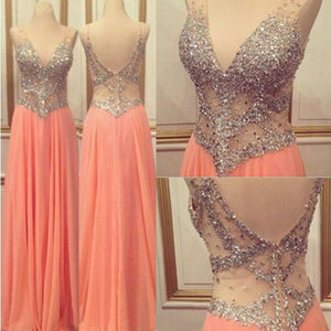Pink prom Dress,Charming Prom Dresses,V neck prom Dress,see through prom dress,Evening dress,BD064