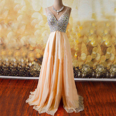 V-neck Prom Dresses,Charming Prom Dress,A-line Prom Dresses,Sleeveless Prom Dress,Cheap Prom Dresses,PD00209