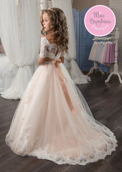 Long Wedding Flower Girl Dresses, Cute Little Girl Dresses, FD008