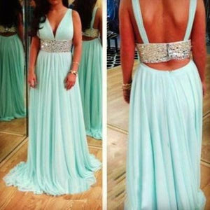 Blue prom Dress,Charming Prom Dresses,2017 prom Dress,V neck prom dress,Evening dress,BD040