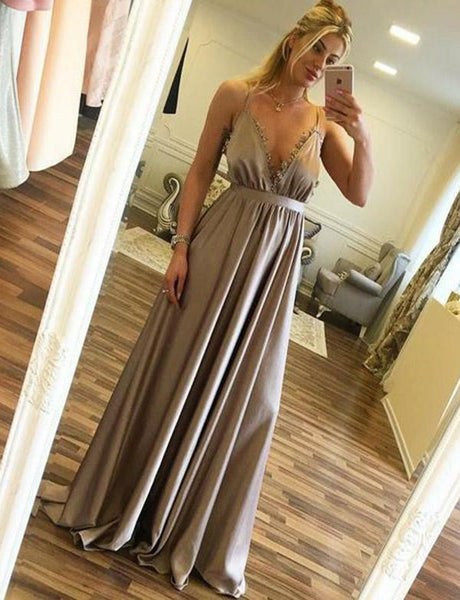 Hot Sexy Simple A Line Spaghetti Straps Satin Long Prom Dresses, BH91232