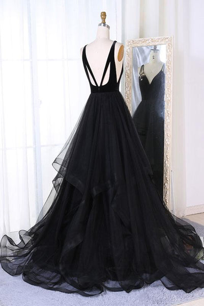 chic black tulle long A-line formal prom dress 2019,HO122