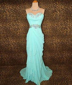 Blue Beads Long Prom Dresses, Blue Evening Dresses,PD4558968