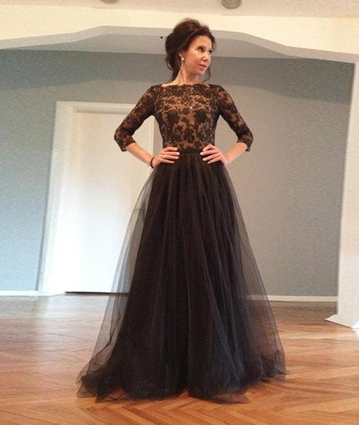 Black Lace Tulle Backless Long Prom Dresses, Evening Dresses,PD4558972