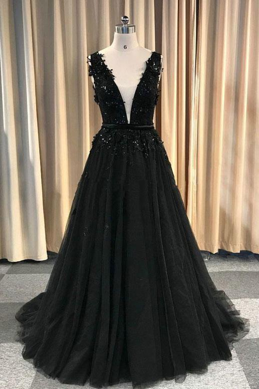 black v-neck tulle with lace appliques long formal prom dress,HO173