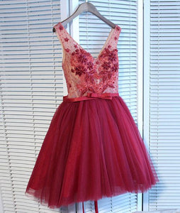 V Neck Tulle Short Prom Dresses,Homecoming Dresses,PD4558957