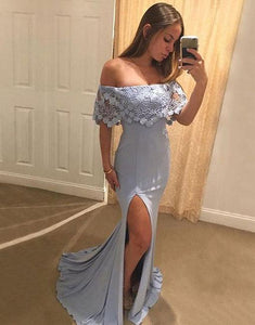 Copy of Simple blue chiffon lace mermaid long prom dress, blue evening dress BD98008
