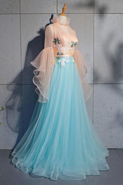 Blue Tulle Lace Long Prom Dress, Blue Tulle Evening Dress,BH91163
