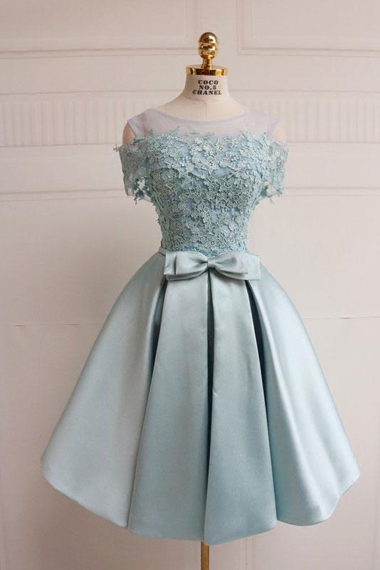 short dusty blue blue short sleeves simple cheap prom dress,HD687
