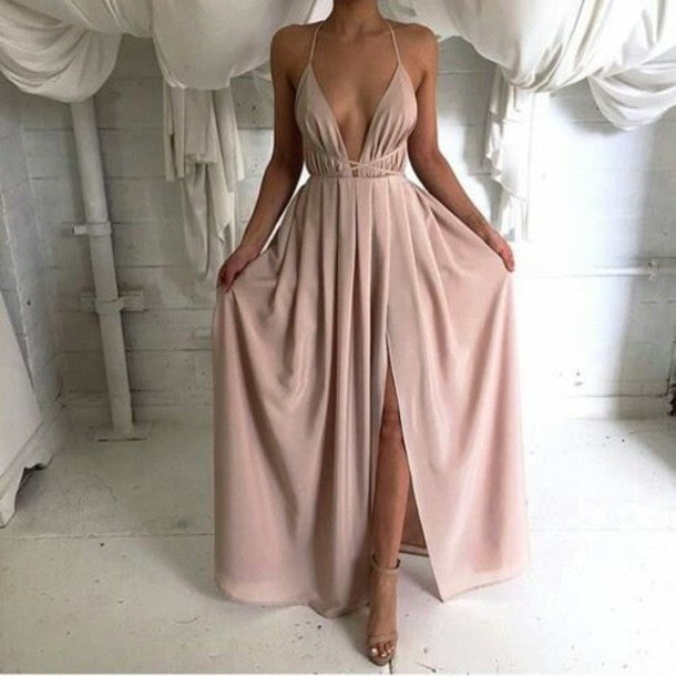 Dusty Pink Prom Dress,Sexy prom dress,V neck prom dress,Long prom dress,slit evening dress,BD386