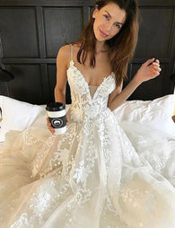 Spaghetti Straps Wedding Dress,Lace Wedding Dress,Charming wedding Dress,Gorgeous Wedding Dress,2017 Wedding Dress,PD00132