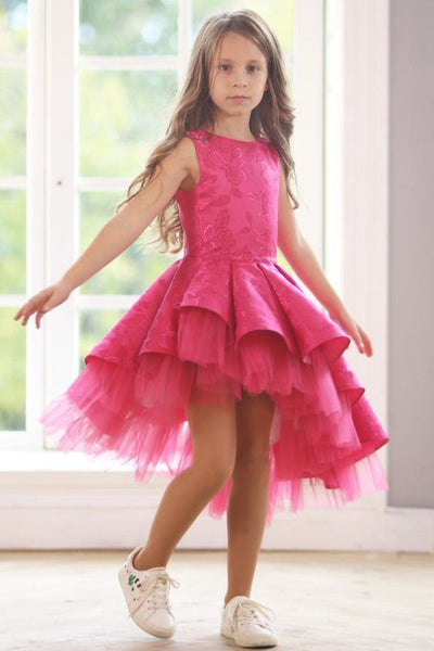 Hot Pink Little Girl Dress, Lovely Party Dress For Girls, FD022