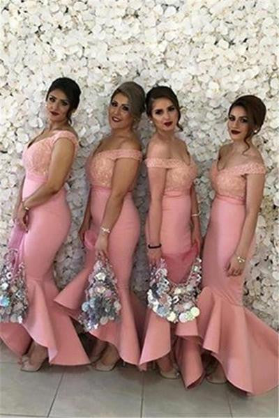 Pink Bridesmaid Dresses,Mermaid Bridesmaid Dress,Sleeveless Bridesmaid Dress,Cheap Bridesmaid Dresses,Off-shoulder Bridesmaid Dress,PD00131