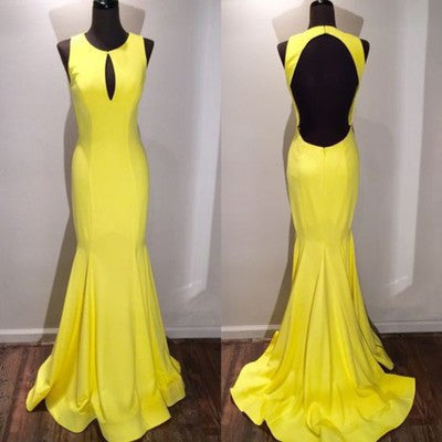 yellow prom dress,formal Prom Dresses,long Prom Dresses,backless prom dress,elegant evening dress,BD2734