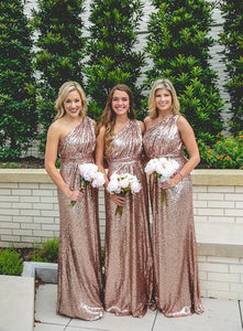 Rose Gold Bridesmaid Dresses,One-shoulder Bridesmaid Dress,Sequin Bridesmaid Dress,Cheap Bridesmaid Dresses,Hot Sale 2017 Bridesmaid Dress,PD00147
