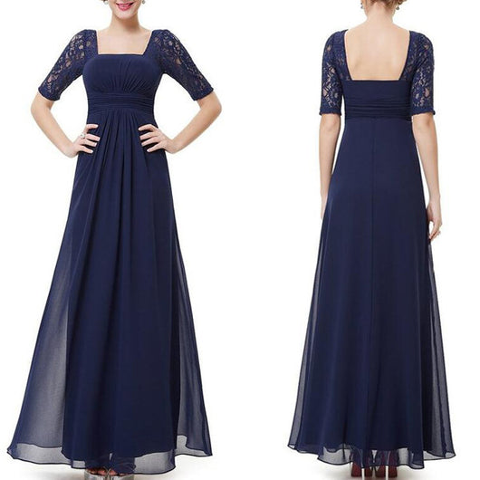 navy prom Dress,sleeves Prom Dress,formal prom dress, lace prom dress,evening dress,BD606