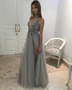 Deep V-neck Prom Dresses,Leg Slit Prom Dress,Sexy Prom Dresses,A-line Prom Dress,Cheap Prom Dresses,PD00142