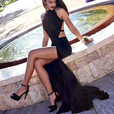 Evening Dress,long evening dress,black Prom Dress,open back prom dress, side slit evening dress,BD8941