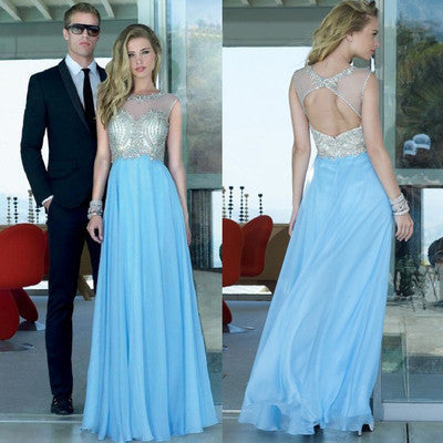 Blue Prom Dress,Open back Prom Dress,Charming Prom Dress,A-line prom dress,2016 Prom Dress,Party dress gown,BD112