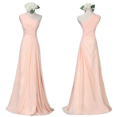 Long bridesmaid dress,one shoulder bridesmaid dress,chiffon bridesmaid dress,cheap prom dress,BD417