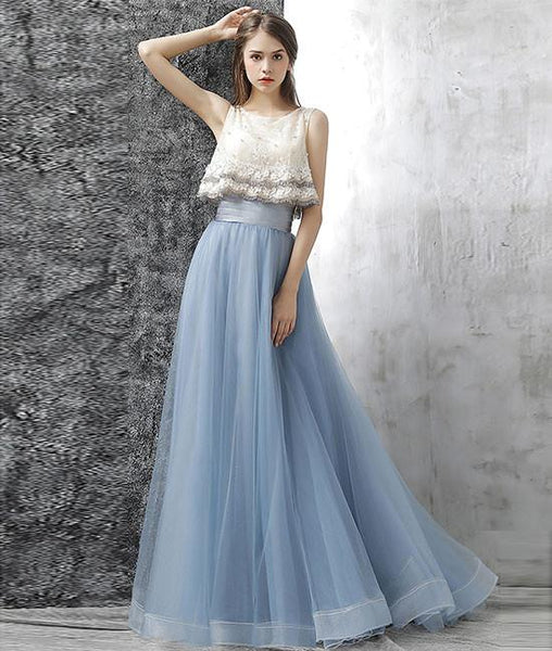 Elegant Two Pieces Tulle Long Prom Dresses, Tulle Homecoming Dresses,PD4558945