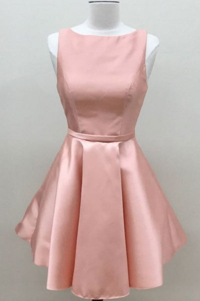pink satin short simple cheap prom dress,HD688