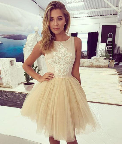 Lace Tulle Short Prom Dresses,Homecoming Dresses,PD4558947