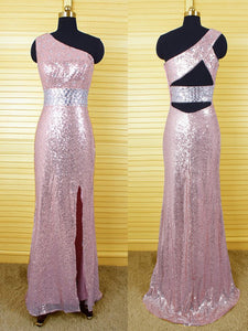 rose gold prom dress,long Prom Dress,sequin evening gown,one shoulder evening gown,side slit prom gown,BD1007