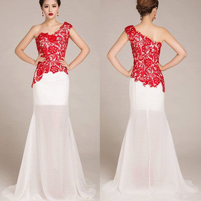 lace Prom Dress,one shoulder prom dress, long prom dress,evening dress,BD0700