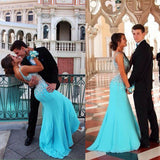 charming Prom Dress,long prom dress,blue prom dress,evening dress,BD701