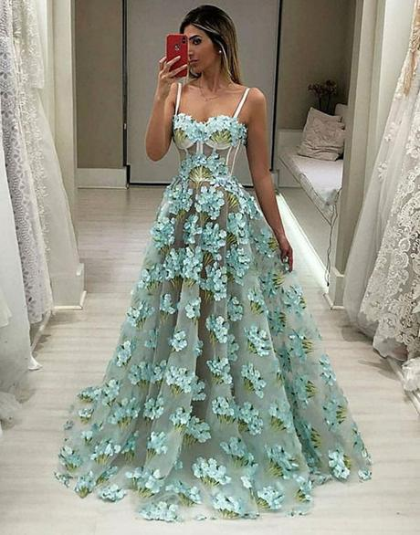 chic spaghetti straps appliques A-line long chic prom dress,HO179