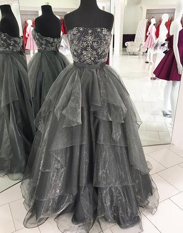 Gray tulle beads long prom dress, gray evening dress BD98001