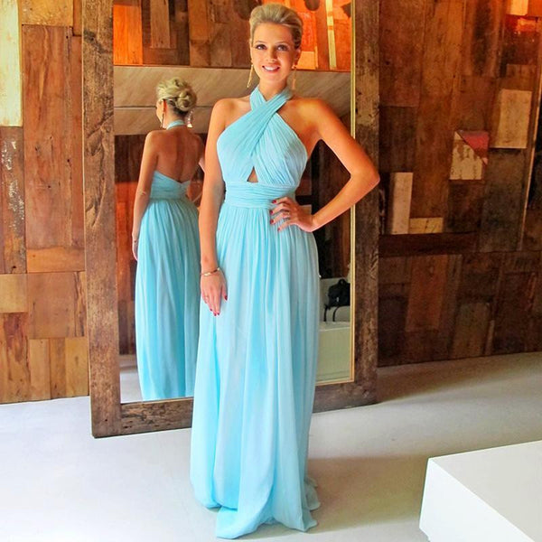 long prom dress,chiffon Prom Dress,blue prom dress,backless prom dress,party prom dress,BD1683