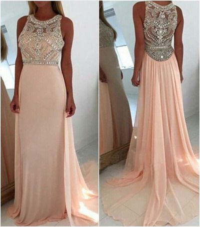 Blush pink prom dresses, long prom dresses, see through prom dresses, prom dresses cheap, sexy prom dresses, rhinestone prom dresses,PD45470