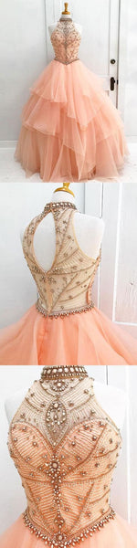 Ball Gown Halter High Neck Beaded Bodice Organza Quinceanera Dresses,BD455855