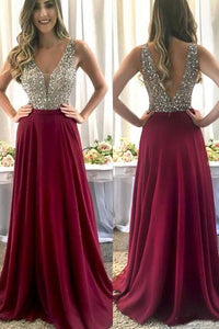 charming fuchsia chiffon beaded long prom dress, HO226