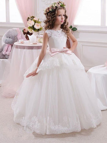 White Long Flower Girl Dresses For Wedding, Cheap Lovely Little Girl Dress, FD015