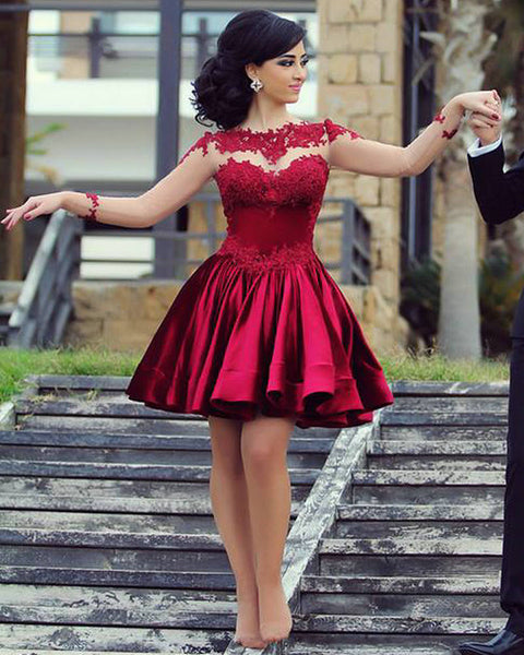 Burgundy Homecoming Dress,Long Sleeve Homecoming Dresses,Elegant Homecoming Dress,short prom Dress,PD00199