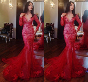 red prom Dress,mermaid Prom Dress,long sleeves prom dress, long prom dress,lace prom dress,BD662