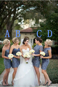 gray bridesmaid dress,short bridesmaid dress,mismatched bridesmaid dress,lace bridesmaid dress,BD1645