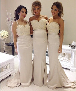 White bridesmaid dress,long mermaid bridesmaid dress,Cheap bridesmaid dress,Lace bridesmaid dress,BD045