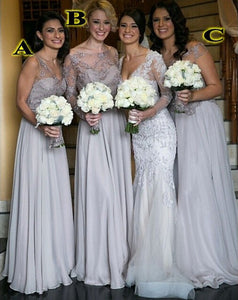 Gray bridesmaid dress,long bridesmaid dress,Cheap bridesmaid dress,Lace mismatched bridesmaid dress,BD046