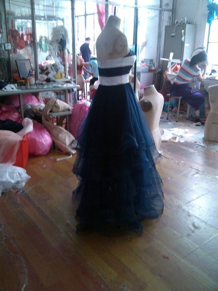 Navy blue prom dress,long Prom Dress,2016 evening gown,tulle evening gown,strapless prom gown,BD1005