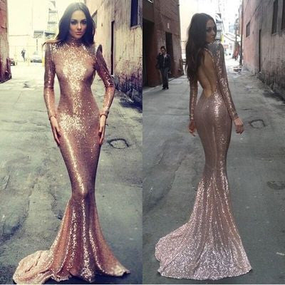 Long sleeve mermaid prom dress, rose gold prom dresses, sequin prom dresses, backless prom dress,BD004